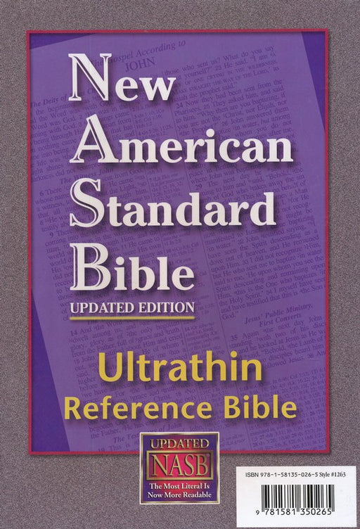 NASB Ultrathin Reference Bible, Black Genuine Leather