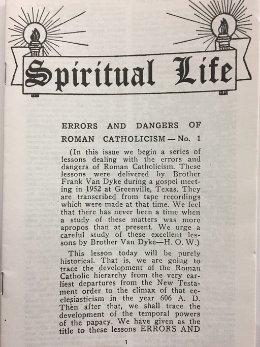 Spiritual Life - Errors & Dangers of Roman Catholicism