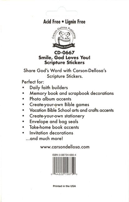 Smile - God Loves You! Scripture Stickers