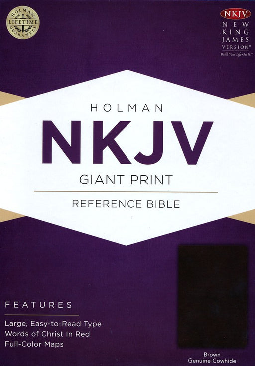 NKJV Giant Print Reference Bible Brown Genuine Leather
