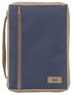 Bible Cover - Navy/ Tan Canvas - Large