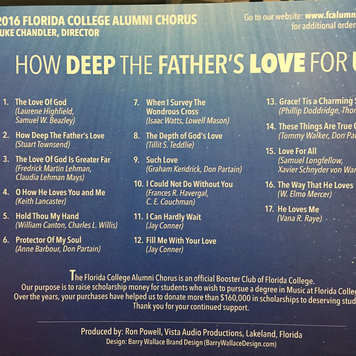 FC Alumni Chorus - How Deep the Father's Love for Us - 2016 CD