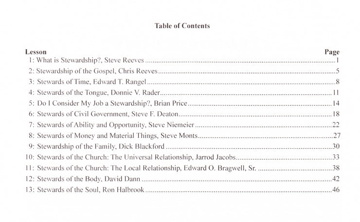Give Account of Your Stewardship TOC