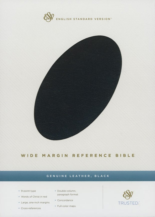 ESV Wide Margin Reference Bible Black Top Grain Leather