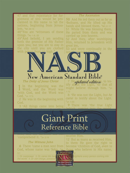 NAS Giant Print Reference Bible - Black Genuine Leather