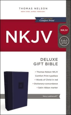 NKJV Deluxe Gift Bible Navy LeatherSoft