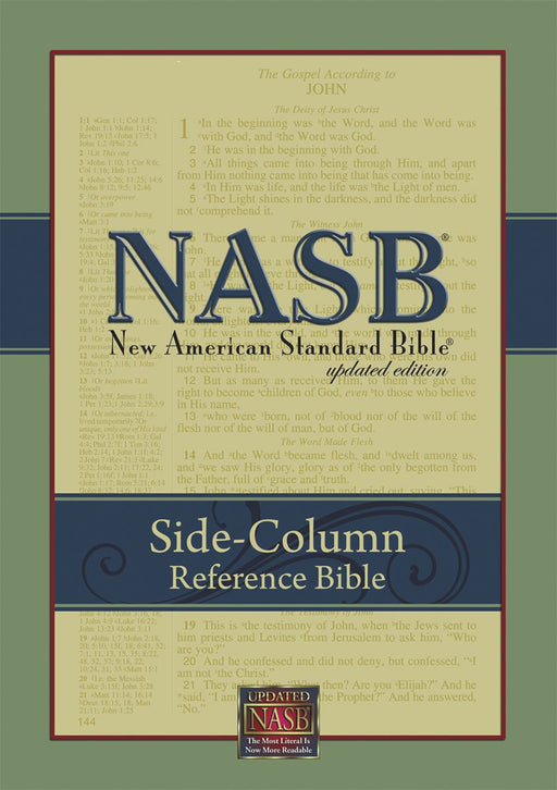 NAS Updated Side Column Reference Wide Margin Bible, Black Leathertex