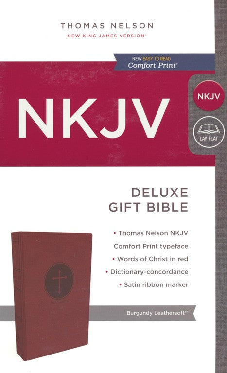 NKJV Deluxe Gift Bible Burgundy LeatherSoft