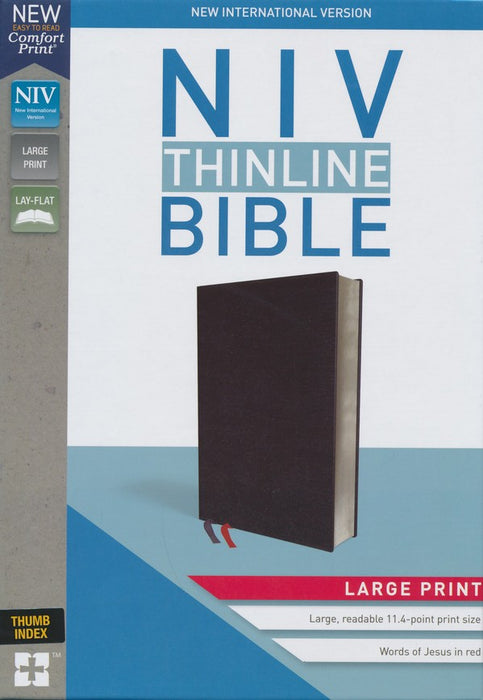 NIV Thinline Large Print Bible Black Bonded Leather, Indexed
