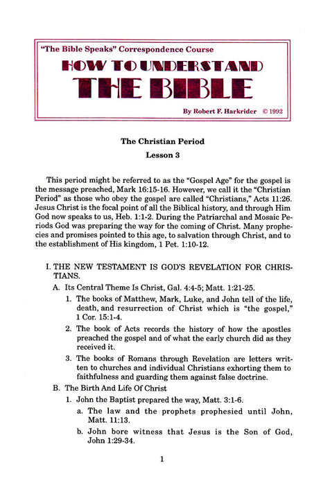 How to Understand the Bible Correspondence Course:  Lesson 3
