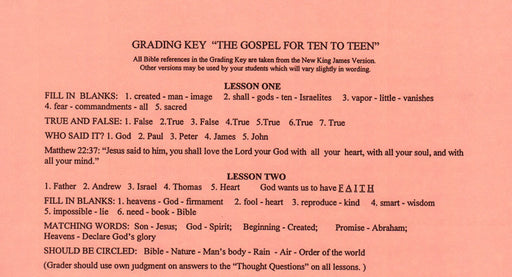 Gospel for Ten to Teen - Grading Key