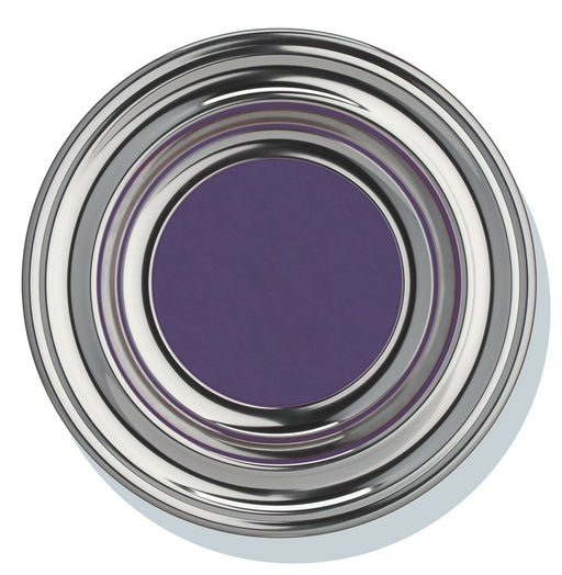 "Offering Plate - 12"" Silvertone with Purple Pad"