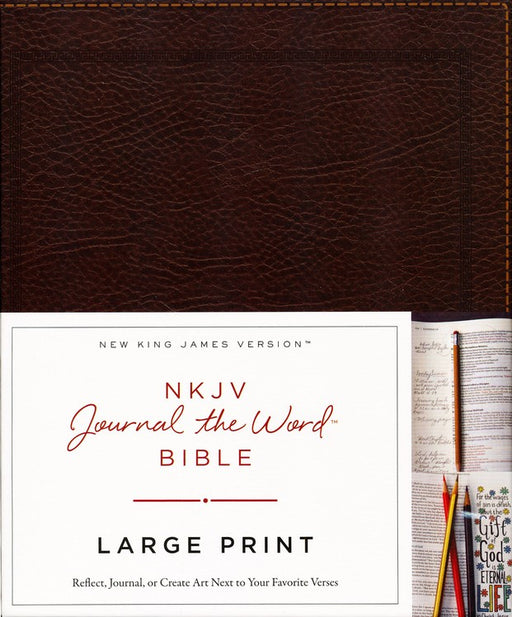 NKJV Journal the Word Bible Large Print,  Brown Bonded Leather