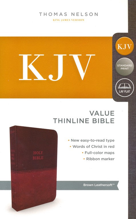 KJV Thinline Value Bible Comfort Print Brown Leathersoft