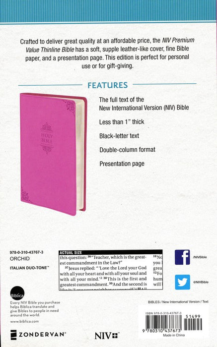 NIV Value Thinline Bible Pink