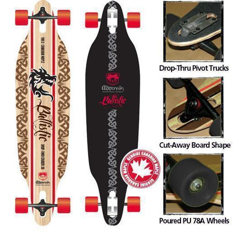 "Adenalin Skate 440151     ~ BALLISTIC 38"" DROP SKATEBOARD New zealand nz vaughan"