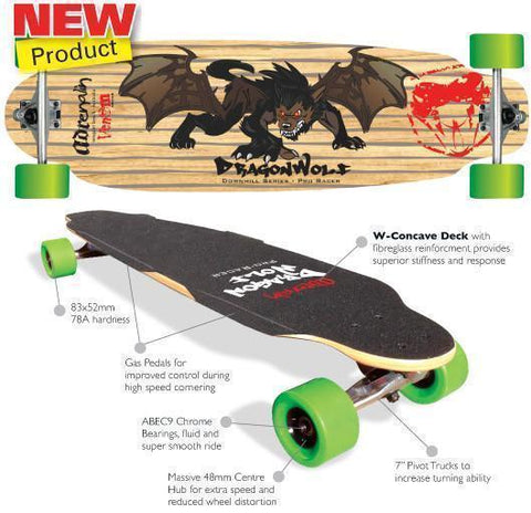 "Adenalin Skate 440162     ~ DRAGONWOLF 36"" D-H SKATEBOARD New zealand nz vaughan"