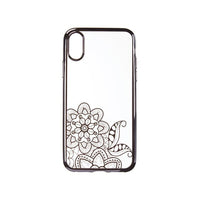 Husa tip carcasa Black Flower Kapsule iPhone X, transparent/negru, maleabila