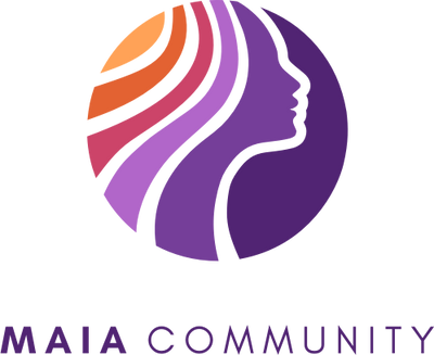 Maia Community logo, yellow, orange, purple pink hair with a purple female silhouette.