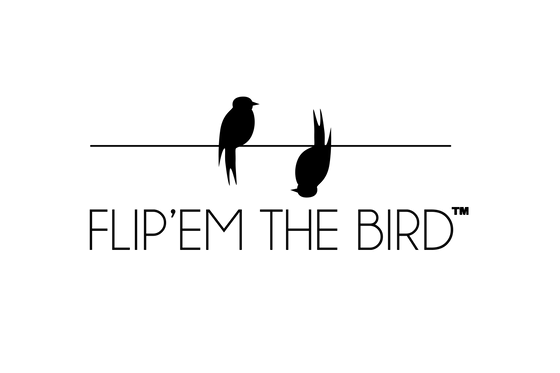 flip'em the bird trademarked logo. 2 birds sitting on a line one right side up the other upside down. The name of company flip'em the bird below.