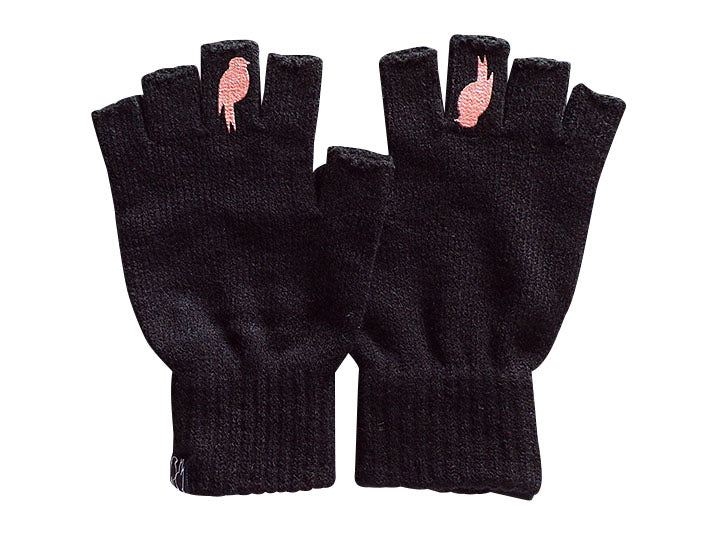Two Black Fingerless Gloves with a Coral colored bird on the middle finger