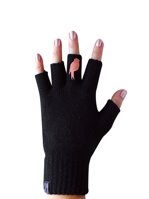 Black Fingerless Gloves with a Coral colored bird on the middle finger; Nail color is a pink