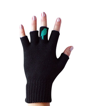 Black Fingerless Gloves with a teal colored bird on the middle finger; Nail color is a pink