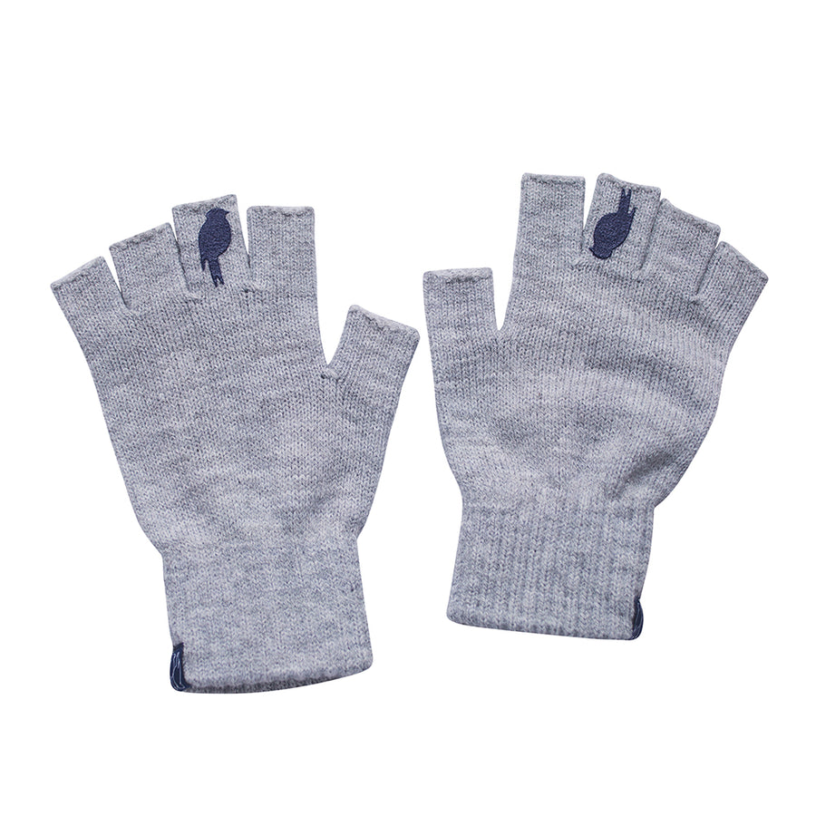 Two Grey Fingerless Gloves with a Navy colored bird on the middle finger laying flat