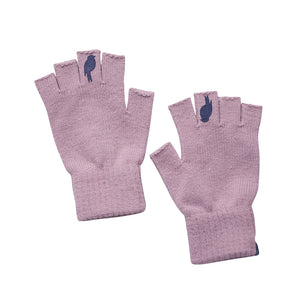 Two Pink Fingerless Gloves with a Navy colored bird on the middle finger; Laying flat side by side