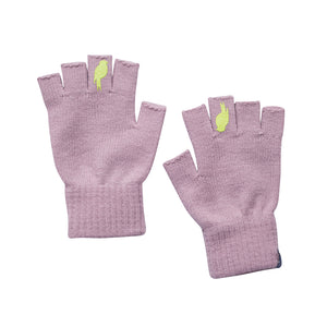 Two pink fingerless gloves with a lime colored bird on the middle finger.