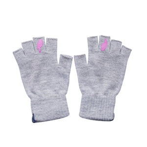 Two Grey Fingerless Gloves with a Pink colored bird on the middle finger Laying flat