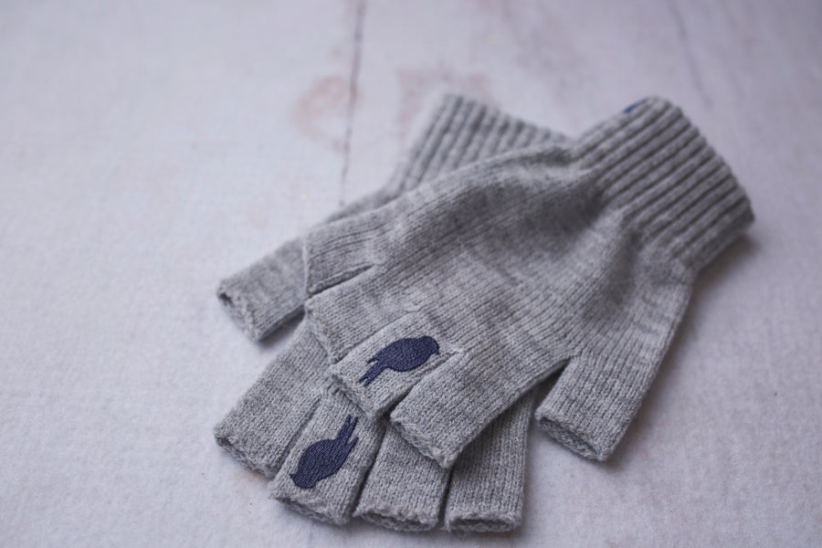 Right and Left fingerless glove stacked on top of one another. Colors: Grey/Blue