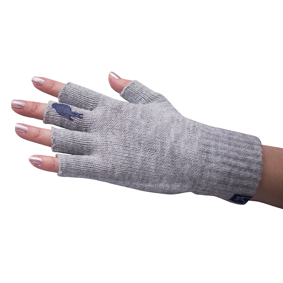 Grey Fingerless Gloves with a Navy colored bird on the middle finger; Nail color Pink