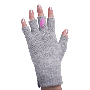 Grey Fingerless Gloves with a Pink colored bird on the middle finger; Nail color pink