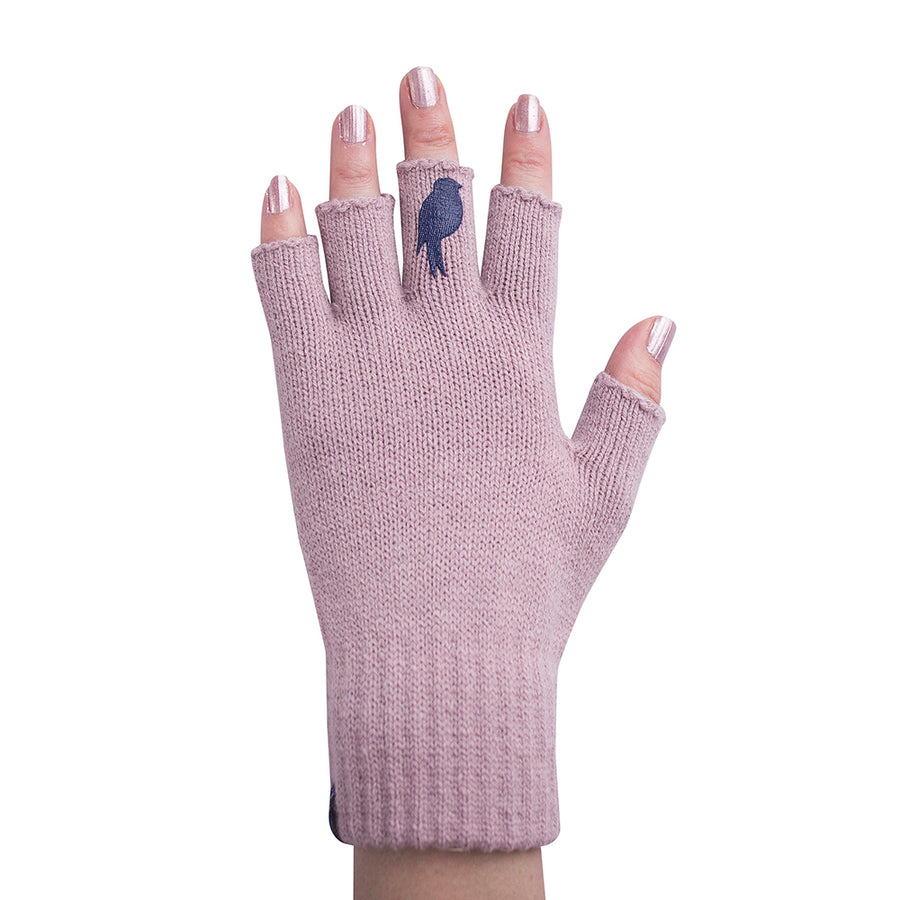Pink Fingerless Gloves with a Navy colored bird on the middle finger; Nail color Pink