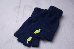 Right and Left fingerless glove stacked on top of one another. Colors: Sailor Blue / Lime Punch