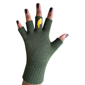 Army Green Fingerless Gloves with a Yellow colored bird on the middle finger; Nail color Dark Red
