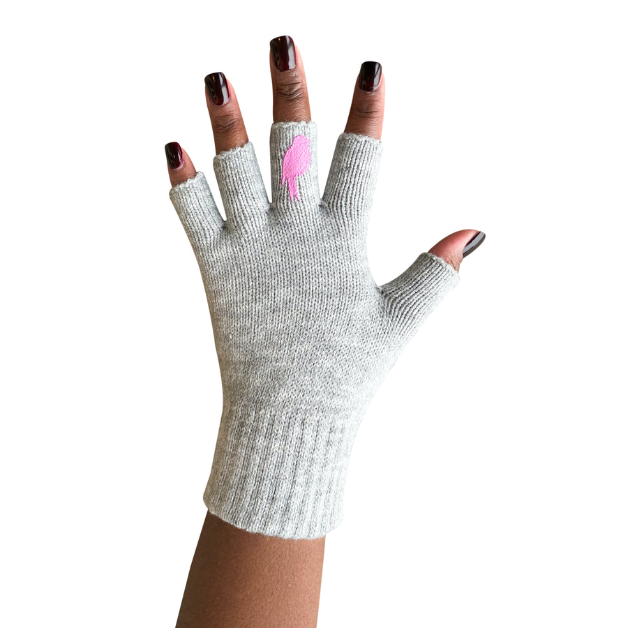 Grey Fingerless Gloves with a Pink colored bird on the middle finger; Nail color Dark Red