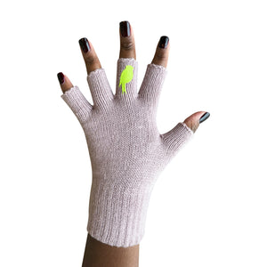 Pink Fingerless Gloves with a Lime colored bird on the middle finger; Nails are polished dark red.