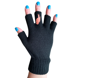 Black Fingerless Gloves with a Coral colored bird on the middle finger; Nail color is blue