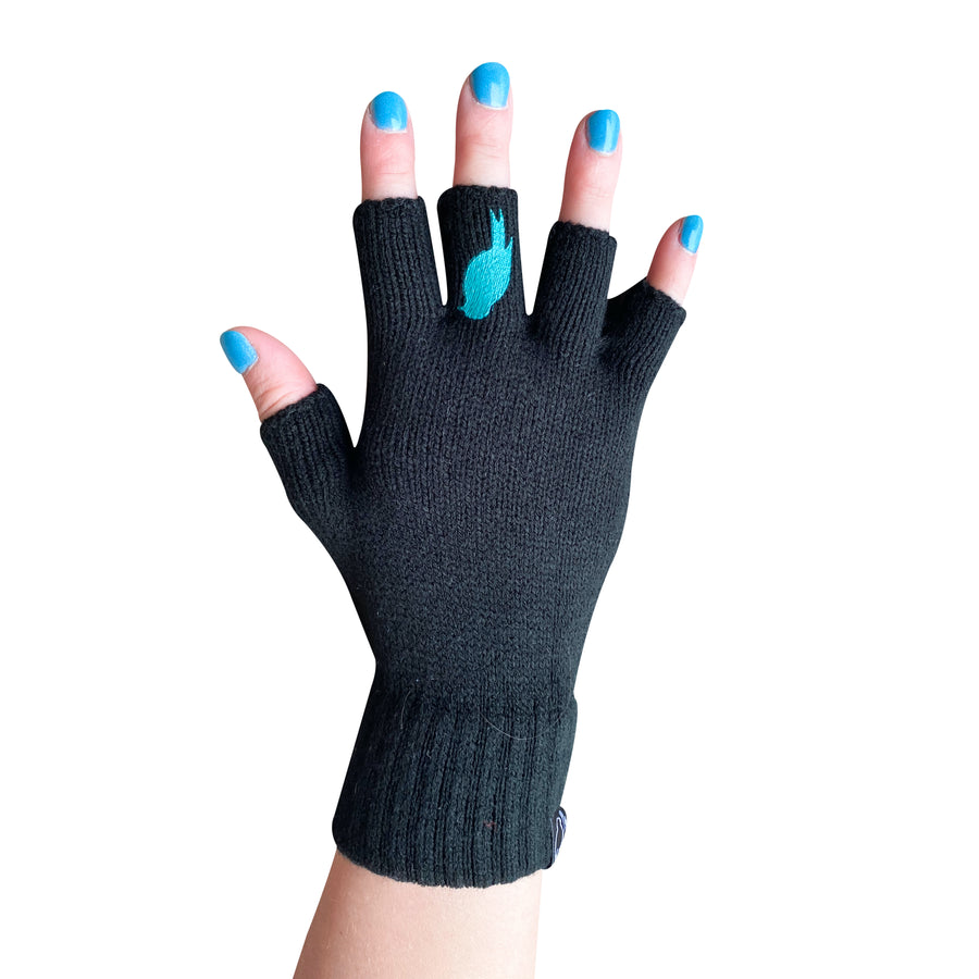 Black Fingerless Gloves with a teal colored bird on the middle finger; Nail color is a blue