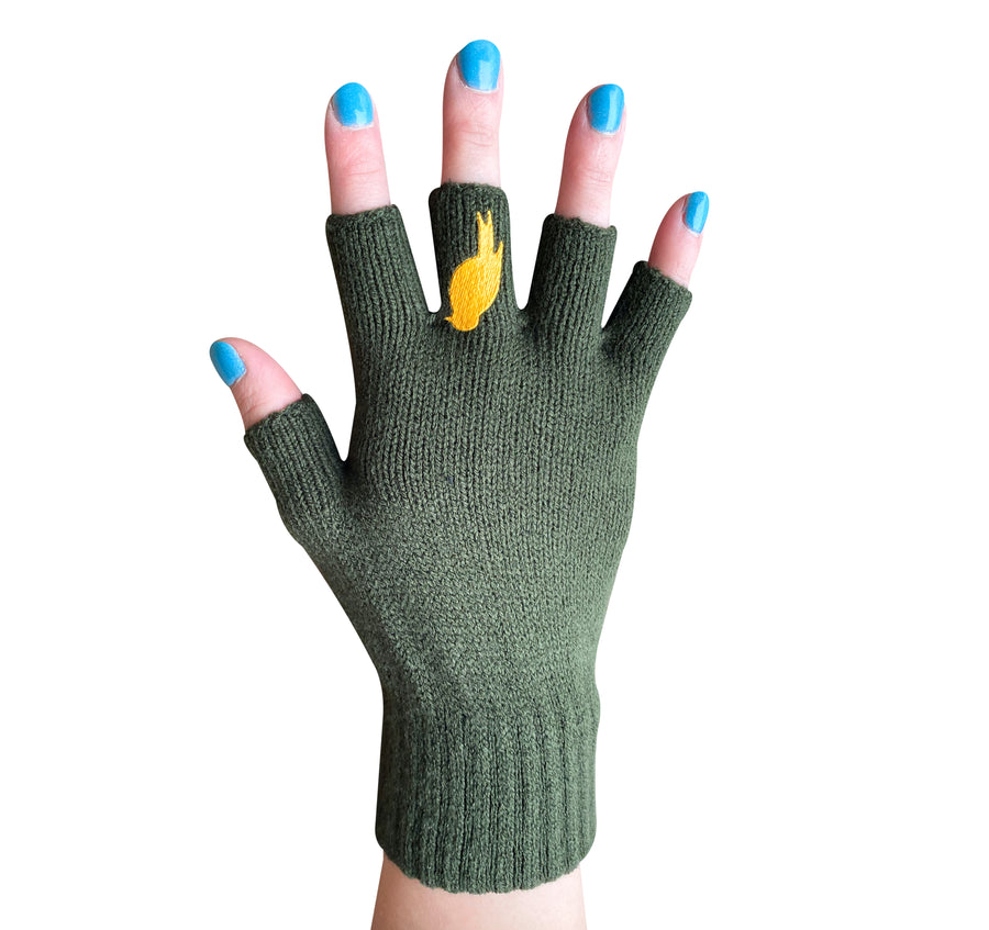 Army Green Fingerless Gloves with a Yellow colored bird on the middle finger; Nail color Blue