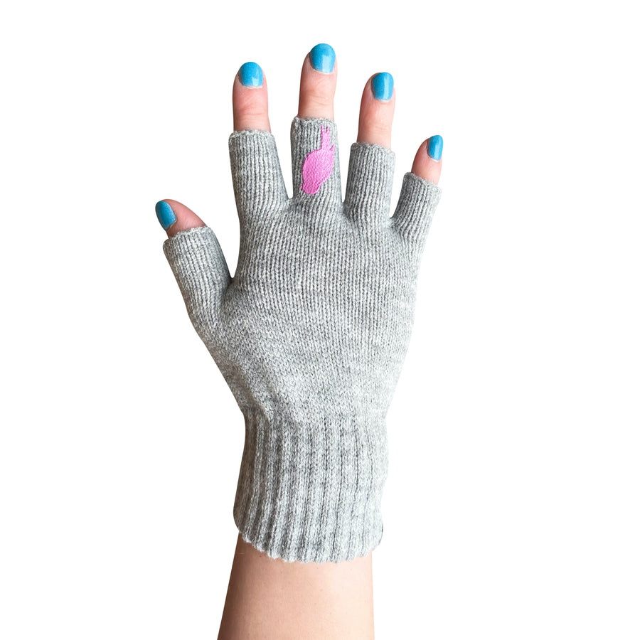 Grey Fingerless Gloves with a Pink colored bird on the middle finger; Nail color Blue