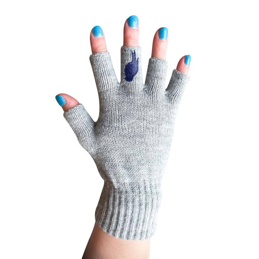 Grey Fingerless Gloves with a Navy colored bird on the middle finger; Nail color Blue
