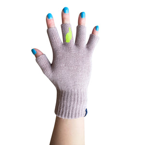 Pink Fingerless Gloves with a Lime colored bird on the middle finger; Nails are polished Teal.