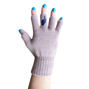 Pink Fingerless Gloves with a Navy colored bird on the middle finger; Nail color Blue