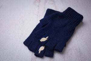 Right and Left fingerless glove stacked on top of one another. Colors: Sailor Blue / Warm Sand