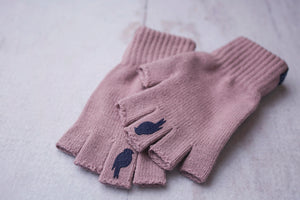 Right and Left fingerless glove stacked on top of one another. Colors: Pink Lavender/ Sailor Blue