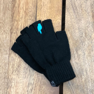 Two Black Fingerless Gloves with a teal colored bird on the middle finger