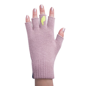Pink Fingerless Gloves with a Lime colored bird on the middle finger; Nail color light pink.